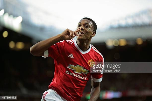 Anthony Martial of Manchester United celebrates after scoring a goal to make it 31 on his debut during the Barclays Premier League match between...