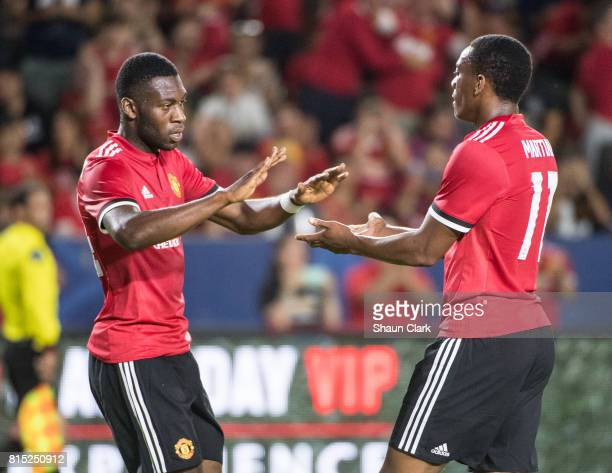 Anthony Martial of Manchester United celebrates his goal during the Los Angeles Galaxy's friendly match against Manchester United at the StubHub...
