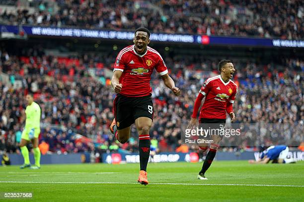 Anthony Martial of Manchester United celebrates scoring his sides second goal during The Emirates FA Cup semi final match between Everton and...
