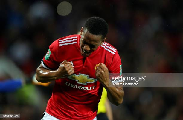 Anthony Martial of Manchester United celebrates scoring his sides fourth goal during the Carabao Cup Third Round match between Manchester United and...