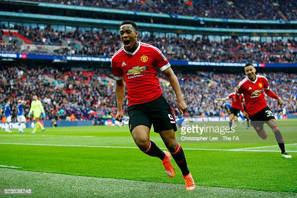 Anthony Martial of Manchester United celebrates scoring the winning goal during the Emirates FA Cup Semi Final match between Everton and Manchester...