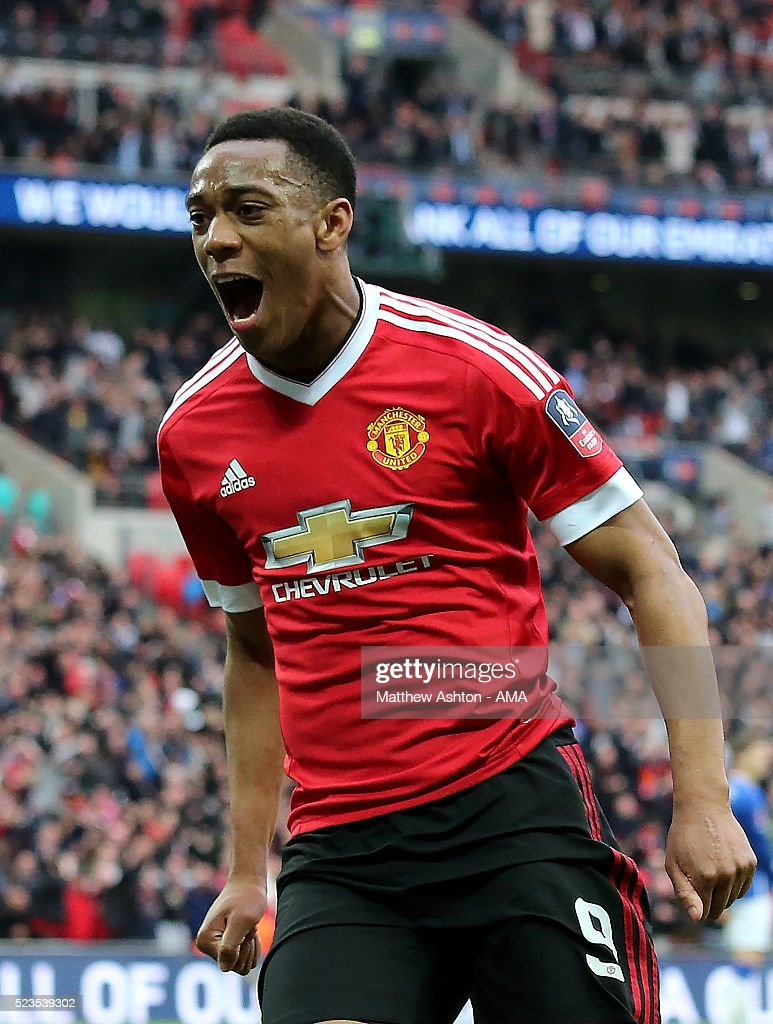 Anthony Martial of Manchester United celebrates scoring the winning goal to make the score 1-2 during the Emirates FA Cup Semi Final match between Everton and Manchester United at Wembley Stadium on April 23, 2016 in London, England.