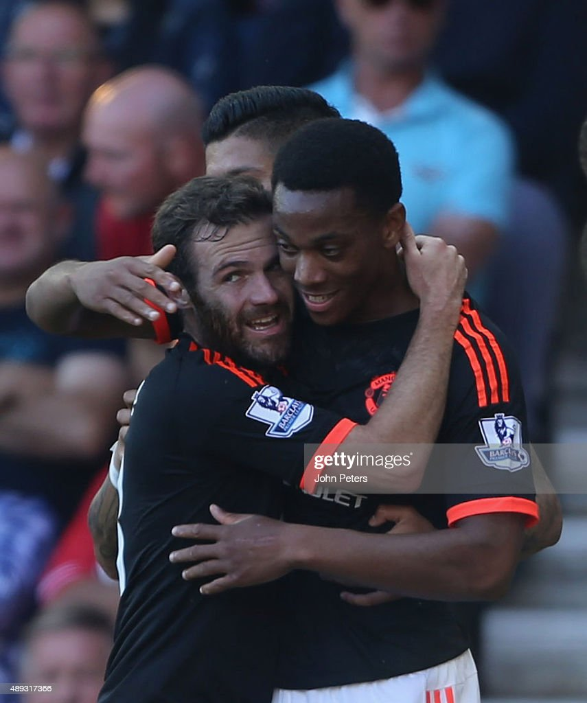 Anthony Martial of Manchester United celebrates scoring their first goal during the Barclays Premier League match between Southampton and Manchester United on September 20, 2015 in Southampton, United Kingdom.