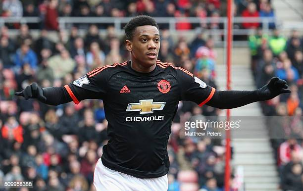 Anthony Martial of Manchester United celebrates scoring their first goal during the Barclays Premier League match between Sunderland and Manchester...