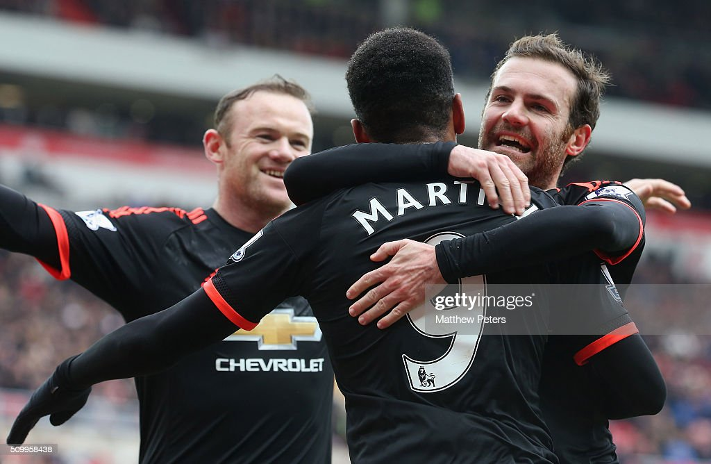 <a gi-track='captionPersonalityLinkClicked' href=/galleries/search?phrase=Anthony+Martial&family=editorial&specificpeople=9197434 ng-click='$event.stopPropagation()'>Anthony Martial</a> of Manchester United celebrates scoring their first goal during the Barclays Premier League match between Sunderland and Manchester United at Stadium of Light on February 13, 2016 in Sunderland, England.
