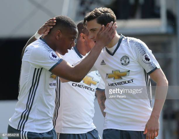 Anthony Martial of Manchester United celebrates scoring their first goal during the Premier League match between Burnley and Manchester United at...