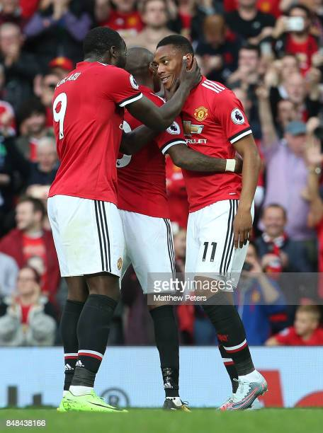 Anthony Martial of Manchester United celebrates scoring their fourth goall during the Premier League match between Manchester United and Everton at...