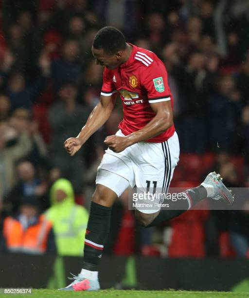Anthony Martial of Manchester United celebrates scoring their fourth goal during the Carabao Cup Third Round between Manchester United and Burton...