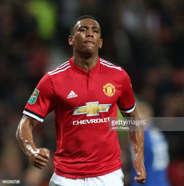 Anthony Martial of Manchester United celebrates scoring their fourth goal during the Carabao Cup Third Round match between Manchester United and...