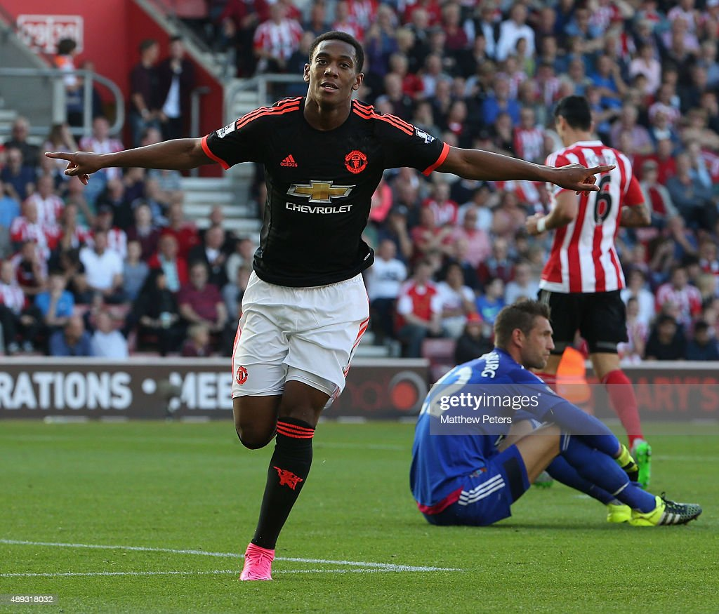 Anthony Martial of Manchester United celebrates scoring their second goal during the Barclays Premier League match between Southampton and Manchester United on September 20, 2015 in Southampton, United Kingdom.