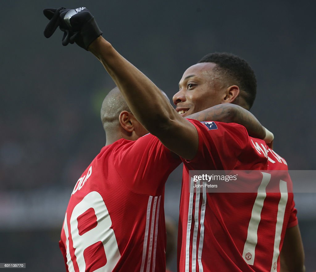 Anthony Martial of Manchester United celebrates scoring their second goal during the Emirates FA Cup Third Round match between Manchester United and Reading at Old Trafford on January 7, 2017 in Manchester, England.