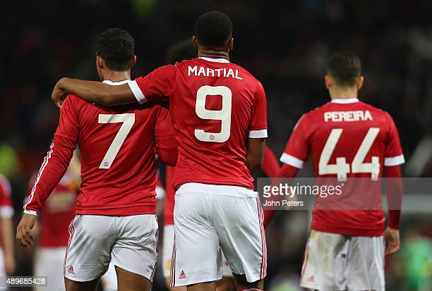 Anthony Martial of Manchester United celebrates scoring their third goal during the Capital One Cup Third Round match between Manchester United and...