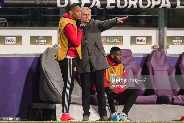 Anthony Martial of Manchester United coach Jose Mourinho of Manchester Unitedduring the UEFA Europa League quarter final match between RSC Anderlecht...