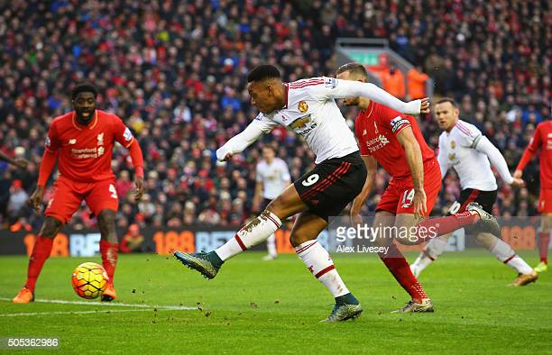 Anthony Martial of Manchester United fails to score from close range during the Barclays Premier League match between Liverpool and Manchester United...