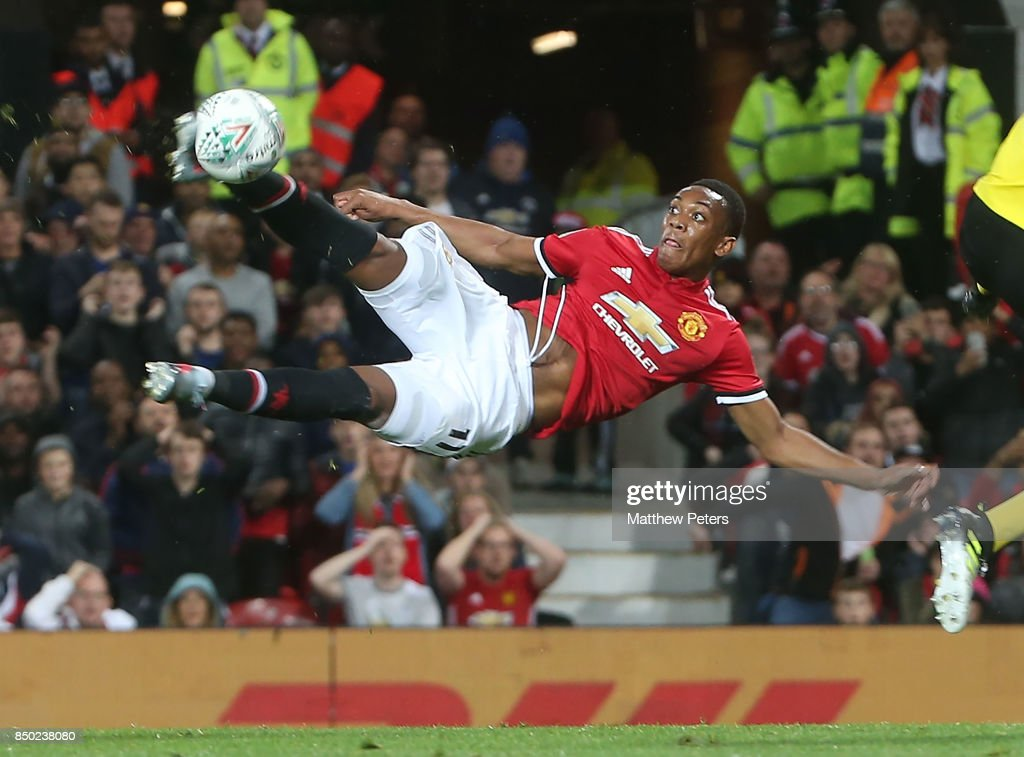 Anthony Martial of Manchester United has a shot on goal during the Carabao Cup Third Round between Manchester United and Burton Albion at Old Trafford on September 20, 2017 in Manchester, England.