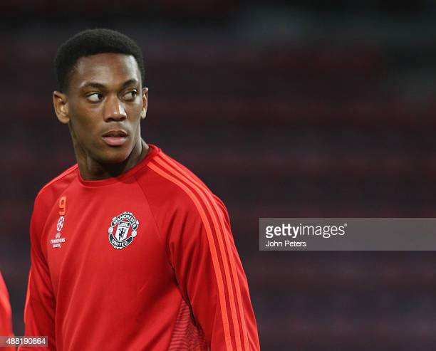 Anthony Martial of Manchester United in action during a first team training session ahead of their UEFA Champions League match against PSV Eindhoven...