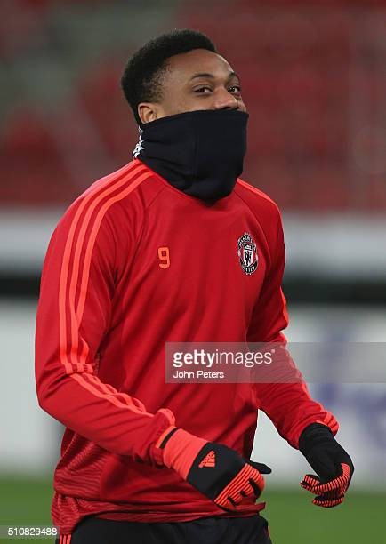 Anthony Martial of Manchester United in action during a first team training session ahead of their UEFA Europa League match against FC Midtjylland at...