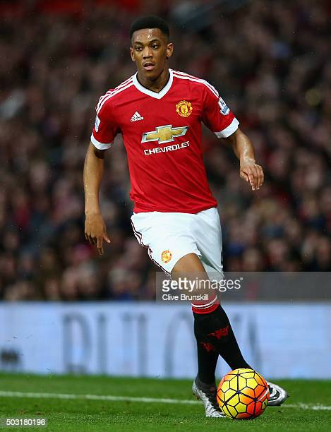 Anthony Martial of Manchester United in action during the Barclays Premier League match between Manchester United and Swansea City at Old Trafford on...