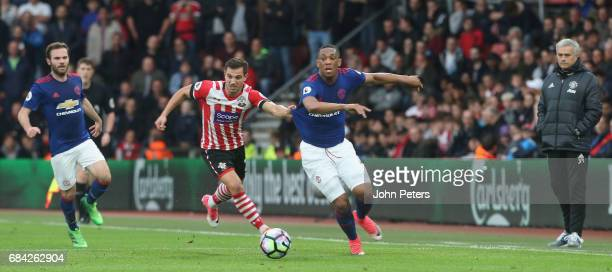 Anthony Martial of Manchester United in action with Cedric Soares of Southampton during the Premier League match between Southampton and Manchester...