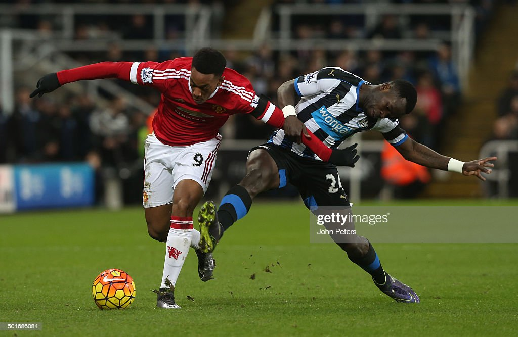 <a gi-track='captionPersonalityLinkClicked' href=/galleries/search?phrase=Anthony+Martial&family=editorial&specificpeople=9197434 ng-click='$event.stopPropagation()'>Anthony Martial</a> of Manchester United in action with Cheik Tiote of Newcastle United during the Barclays Premier League match between Newcastle United and Manchester United at St James' Park on 12 January 2016 in Newcastle Upon Tyne, England.