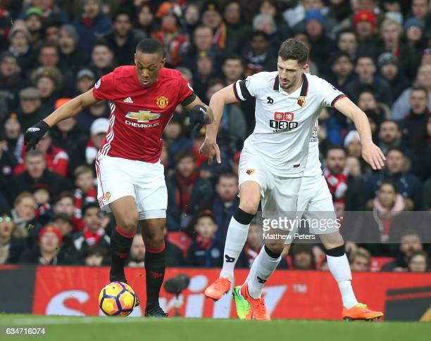Anthony Martial of Manchester United in action with Craig Cathcart of Watford during the Premier League match between Manchester United and Watford...