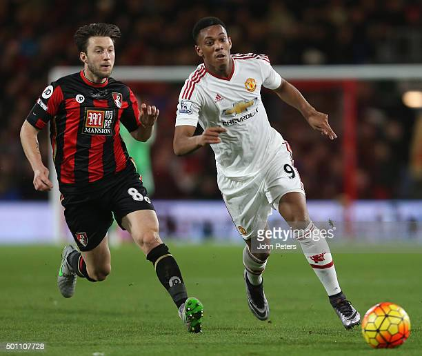 Anthony Martial of Manchester United in action with Harry Arter of AFC Bournemouth during the Barclays Premier League match between AFC Bournemouth...