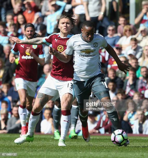 Anthony Martial of Manchester United in action with Jeff Hendrick of Burnley during the Premier League match between Burnley and Manchester United at...