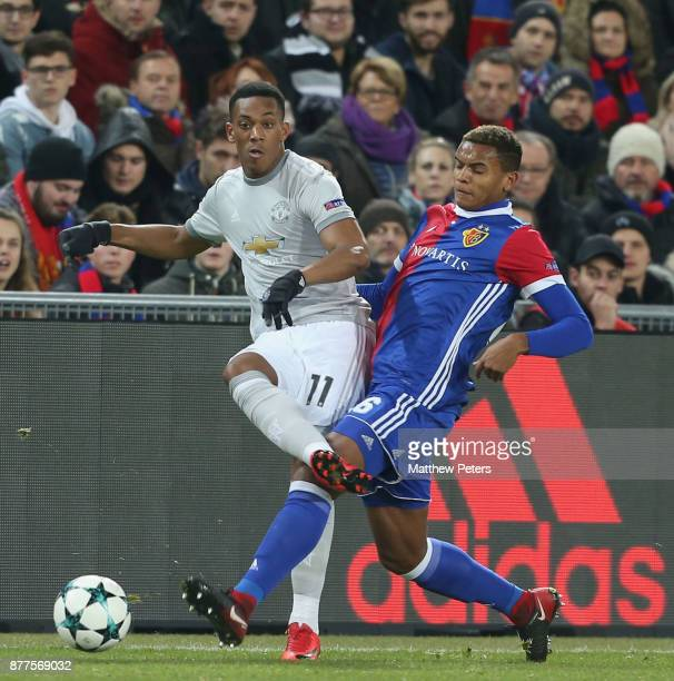Anthony Martial of Manchester United in action with Manuel Akanji of FC Basel during the UEFA Champions League group A match between FC Basel and...