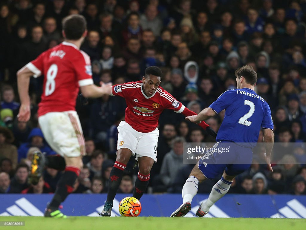 <a gi-track='captionPersonalityLinkClicked' href=/galleries/search?phrase=Anthony+Martial&family=editorial&specificpeople=9197434 ng-click='$event.stopPropagation()'>Anthony Martial</a> of Manchester United in action with<a gi-track='captionPersonalityLinkClicked' href=/galleries/search?phrase=Branislav+Ivanovic&family=editorial&specificpeople=607152 ng-click='$event.stopPropagation()'>Branislav Ivanovic</a> of Chelsea during the Barclays Premier League match between Chelsea and Manchester United at Stamford Bridge on February 7 2016 in London, England.