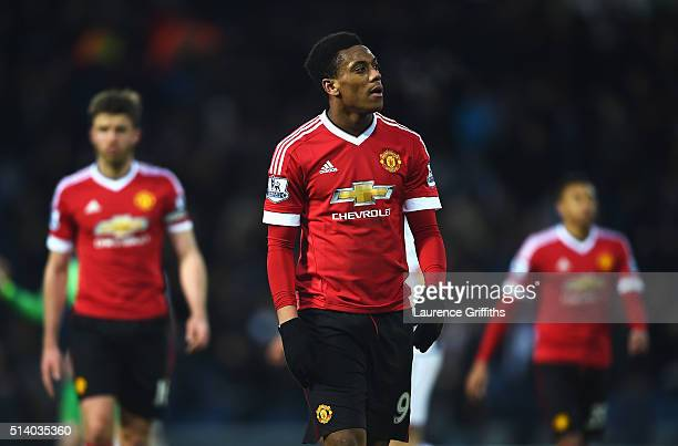 Anthony Martial of Manchester United looks dejected after the Barclays Premier League match between West Bromwich Albion and Manchester United at The...