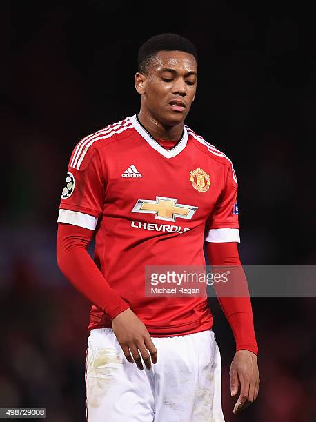Anthony Martial of Manchester United looks dejected after the UEFA Champions League Group B match between Manchester United FC and PSV Eindhoven at...