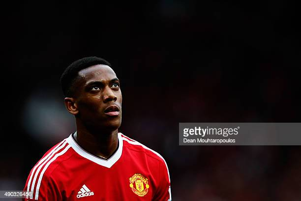 Anthony Martial of Manchester United looks on during the Barclays Premier League match between Manchester United and Sunderland at Old Trafford on...