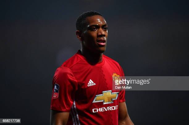 Anthony Martial of Manchester United looks on during the Emirates Cup Fifth Round match between Blackburn Rovers and Manchester United at Ewood Park...