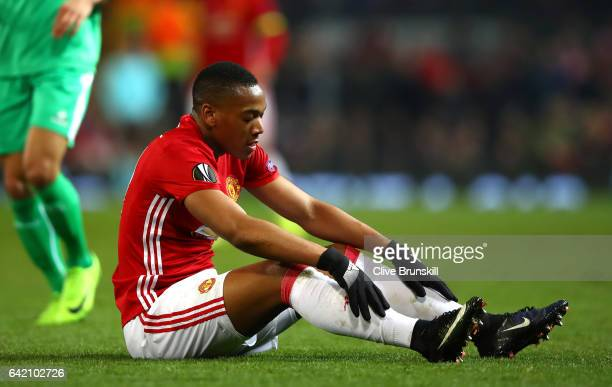 Anthony Martial of Manchester United looks on during the UEFA Europa League Round of 32 first leg match between Manchester United and AS SaintEtienne...