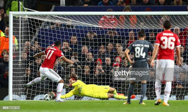 Anthony Martial of Manchester United misses a penalty opportunity saved by Mile Svilar of Benfica during the UEFA Champions League group A match...