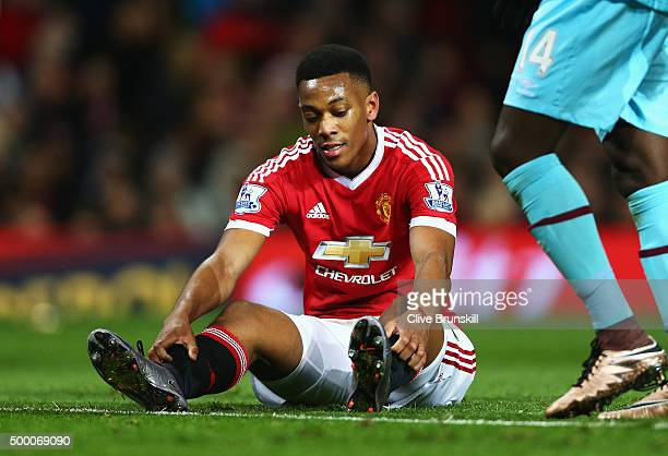 Anthony Martial of Manchester United reacts during the Barclays Premier League match between Manchester United and West Ham United at Old Trafford on...
