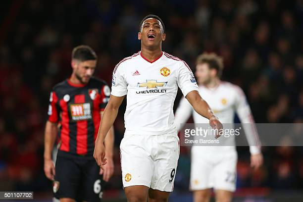 Anthony Martial of Manchester United reacts during the Barclays Premier League match between AFC Bournemouth and Manchester United at Vitality...