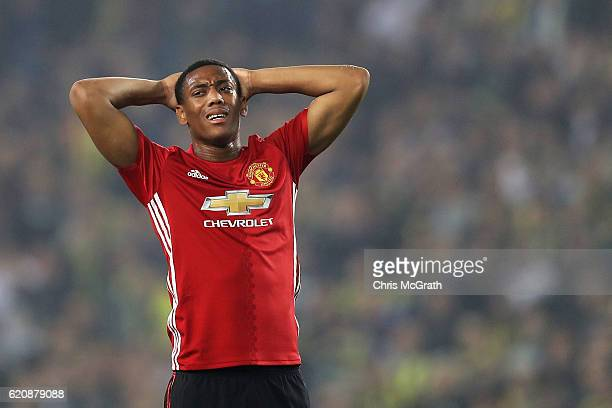 Anthony Martial of Manchester United reacts during the UEFA Europa League Group A match between Fenerbahce SK and Manchester United FC at Sukru...