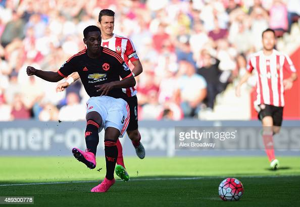 Anthony Martial of Manchester United scores his and his team's second goal during the Barclays Premier League match between Southampton and...