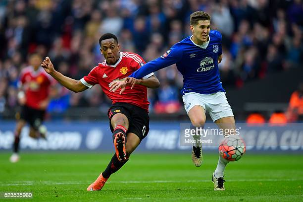 Anthony Martial of Manchester United scores his sides second goal during The Emirates FA Cup semi final match between Everton and Manchester United...