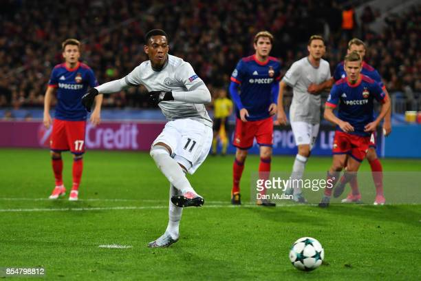 Anthony Martial of Manchester United scores his sides second goal from the penalty spot during the UEFA Champions League group A match between CSKA...