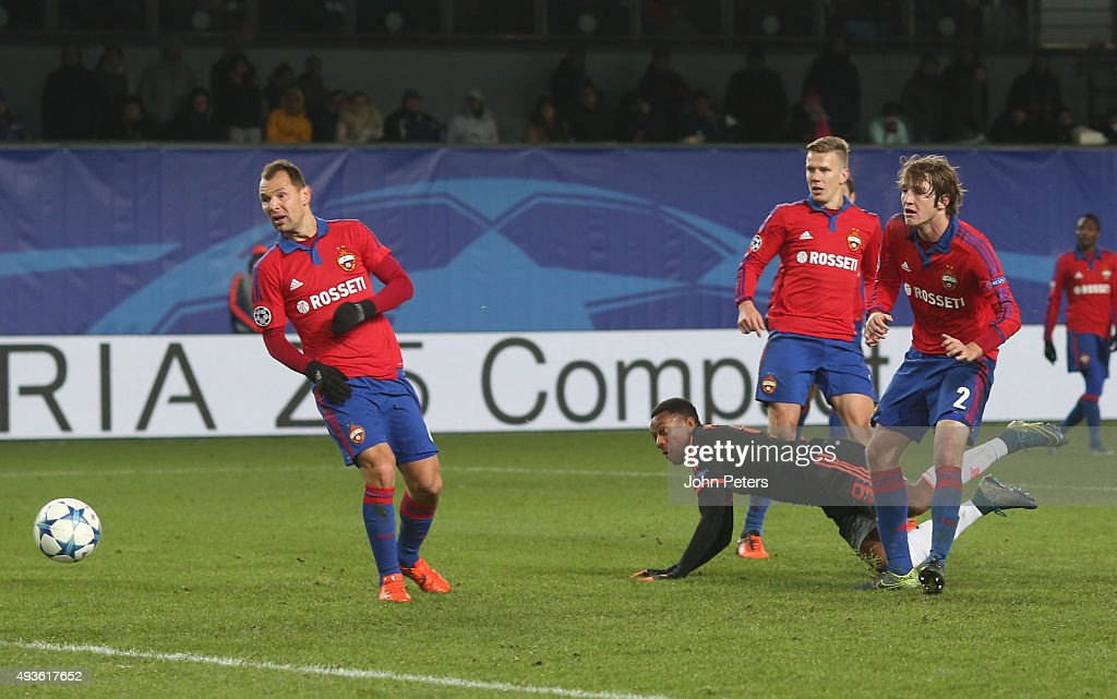 Anthony Martial of Manchester United scores his team's first goal during the UEFA Champions League Group B match between CSKA Moskva and Manchester United at Arena Khimki on October 21, 2015 in Moscow, Russia.