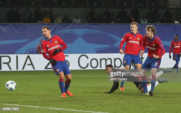 Anthony Martial of Manchester United scores his team's first goal during the UEFA Champions League Group B match between CSKA Moskva and Manchester...