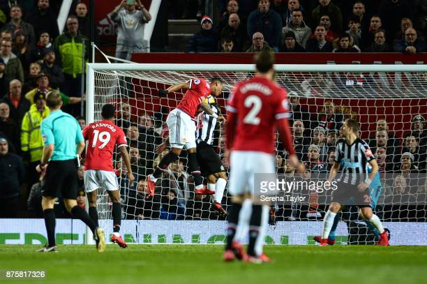 Anthony Martial of Manchester United scores the equalising goal during the Premier League match between Manchester United and Newcastle United at Old...