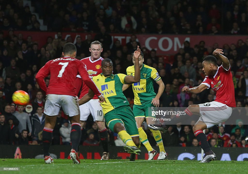 Anthony Martial of Manchester United scores their first goal during the Barclays Premier League match between Manchester United and Norwich City at Old Trafford on December 19, 2015 in Manchester, England.