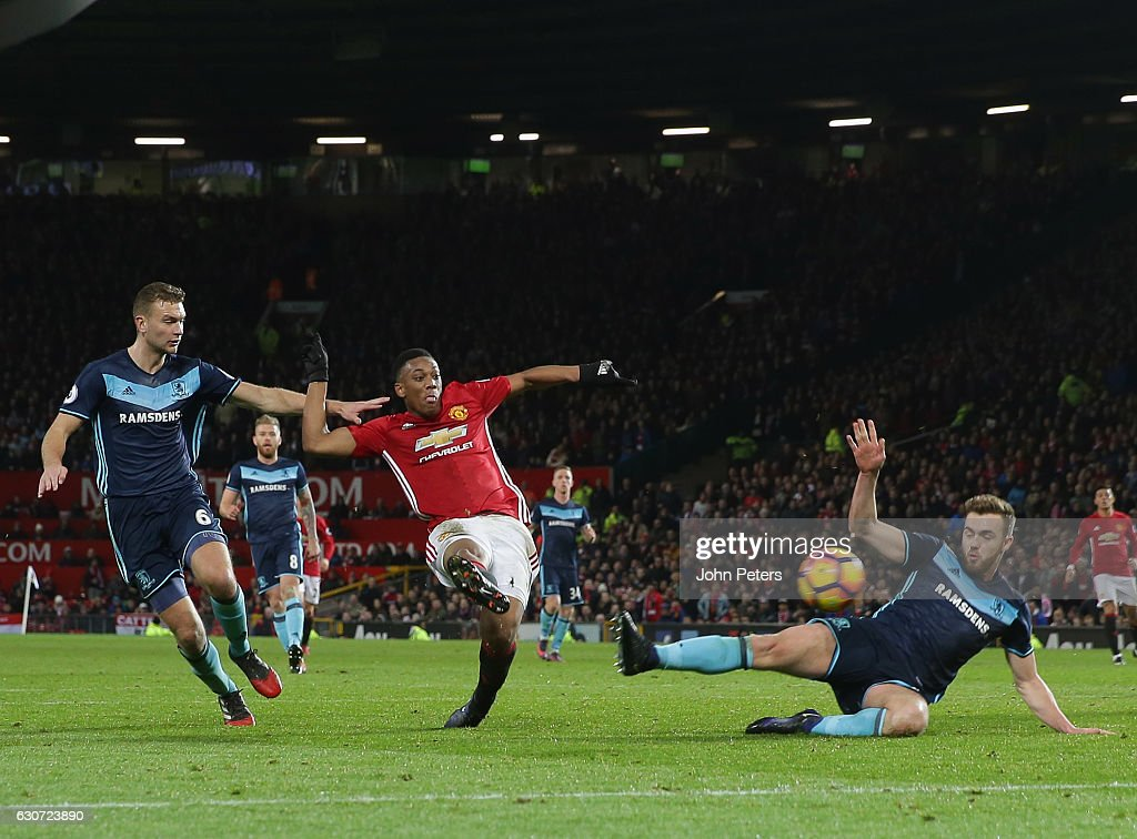 Anthony Martial of Manchester United scores their first goal during the Premier League match between Manchester United and Middlesbrough at Old Trafford on December 31, 2016 in Manchester, England.