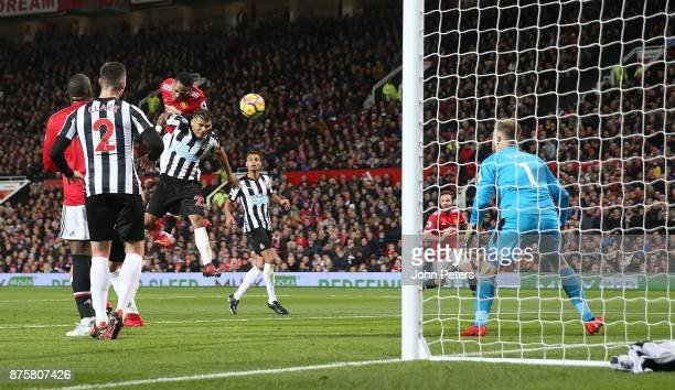 Anthony Martial of Manchester United scores their first goal during the Premier League match between Manchester United and Newcastle United at Old...