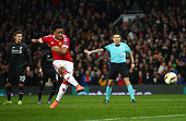 Anthony Martial of Manchester United scores their first goal from the penalty spot during the UEFA Europa League round of 16 second leg match between...