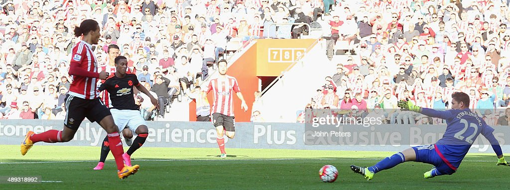 Anthony Martial of Manchester United scores their second goal during the Barclays Premier League match between Southampton and Manchester United on September 20, 2015 in Southampton, United Kingdom.