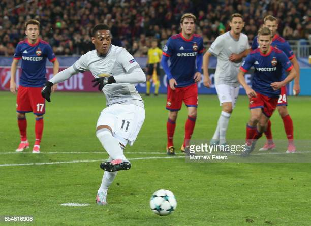 Anthony Martial of Manchester United scores their second goal during the UEFA Champions League group A match between CSKA Moskva and Manchester...